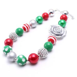 Cor prata Rose Flower Kid Chunky Colar de Jóias Mais Novo Presente de Natal Bubblegum Beads Chunky Necklace Para Crianças Meninas