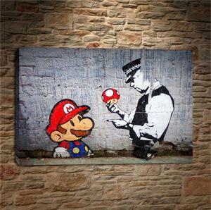 Banksy Graffiti Art Mario e il poliziotto, Tela Pittura Pittura Living Room Decor Moderna murale a olio di arte