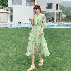 Abacate Magro chiffon vestido verde verão doce estilo Hepburn floral fairy fino série de fadas Super