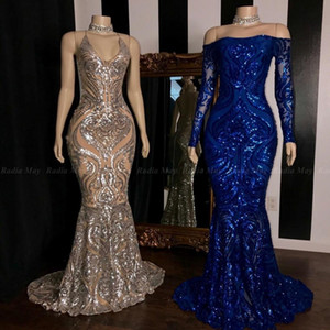 Prickelnde Arabisch Sequined Mermaid afrikanische Abendkleider 2020 Royal Blue Langarm Formal Plus Size Abendkleider Reflektierende