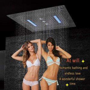 샤워 헤드 LED 천장 럭셔리 800x800mm 욕실 스테인레스 오버 헤드 대형 샤워 강우 폭포 소용돌이 커튼 비 큰