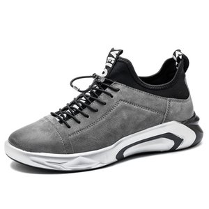 2019 New Fashion Sneakers Men Shoes Soft Leather Mens Casual Shoes Male Footwear Classic Black White Yellow Grey