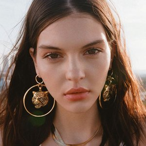 Tiger head earrings Punk style big circle earrings