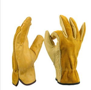 Cowhide Two-Layer Labor Protection Full Leather Gloves Five Fingers Wear-Resistant Non-Slip Garden Safety Protective Glove Protect Wholesale