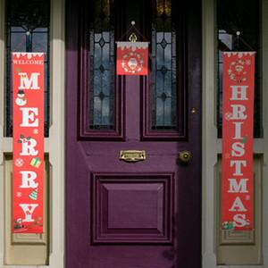 Красочные рождественские ткани Куплеты двери стене висит знак для сада Открытый Merry Christmas Decoration Баннер Wall Подвески LXL634Q-1