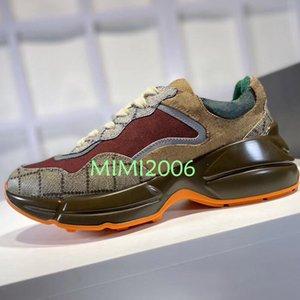 Mens Rhyton calçados casuais Dad sapatilha da Moda de Paris Luxury Designer Mulheres Sapato Plataforma Sports letras retalhos Web Print 35-45 com caixa