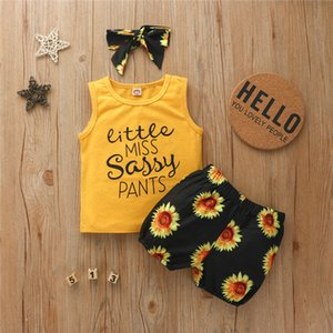 2020 Baby Girls Shorts Set with Hairband Headband Hair Wrap Tank Vest + Sunflower Shorts Two Piece Kids Clothes Sports Casual Suit D62311