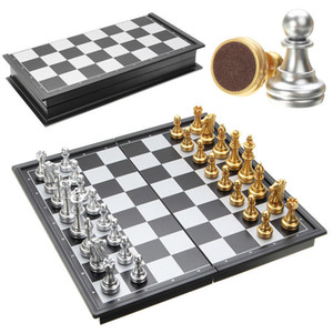 Hot Sale Chess Game Silver Gold Pieces Folding Magnetic Foldable Contemporary Set Fun Family Board Games Gifts Christmas Q190604