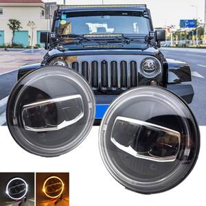 Yeni Araba LED 7 Inç Yuvarlak Far DRL Dönüş Sinyali Halo Farlar Jeep Wrangler JK TJ CJ Hummer Lada Niva 4x4 Farlar için