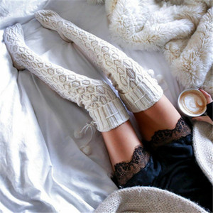 Women Winter Thigh-High Warm Sockings Knitted Cable Over knee Long Boot Girls Ladies Autumn Winter Stockings