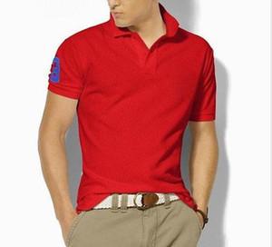 Venta al por mayor 2019 verano nuevos hombres mayores polo de los hombres de manga corta moda casual polo camisa de los hombres de color sólido solapa polo