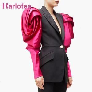 Karlofea Kadınlar Patchwork Çentikli Blazer Ceket Muhteşem Patchwork Puff Kol Tek Düğme Blazer Lady Yeni Moda Giyim Takım Elbise