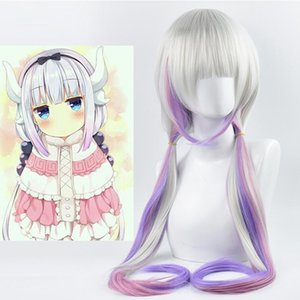 Anime Kanna Long Ponytail Grey Mix Purple Cosplay Party Peruca Sintética Resistente Ao Calor