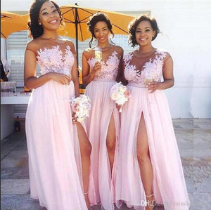 Sexy Sheer Mesh Chiffon Long Country Bridesmaid Dresses Lace Applique Split Floor Length Maid of Honor Wedding Guest Dresses BM0146