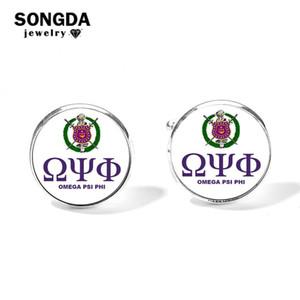 Marca SONGDA Omegaa Psi Phi Fraternidad Diseño de logotipo Gemelos Plata Bronce Plateado Cúpula de cristal Traje de fiesta Camisa Botones Botones Hombre