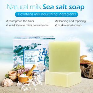 100g Meersalz Seife Ziegenmilch Entfernen Akne Ölkontrolle Reiniger Haut schrumpft Pores Cleanser Blackhead Remover