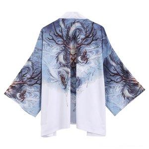 AliExpress Sales Hot Summer Nouveaux produits de style japonais Ukiyo-E Retro Manteaux Vêtements d'extérieur Robes Vêtements pour hommes trois-quarts de longueur Slee