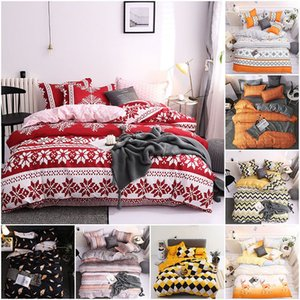 Snowflake Bedding Set Soft Polyester Christmas Pattern Duvet Cover Pillow Case Multicolor European Style Bed Sheet Four-Piece