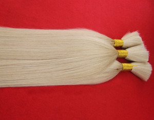 Grado de moda Platino Rubio Color 100% Brasileño Cabello humano a granel para trenzar 100 g Trenzado de cabello A granel Extenso de pelo trenzado recto
