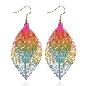 Mode Luxus Boho Doppel Farbe Blatt Baumeln Ohrringe Große Rosa Regenbogen Blätter Lange Quasten Tropfen Ohrring Für Frauen Schmuck