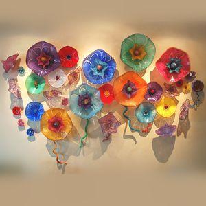 El Üflemeli Lambalar Sanat Plakaları Özelleştirilmiş Renkli Murano Cam Çiçek Duvar Sanatı Yemek Odası Için Büyük Lobi Otel Dekor