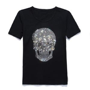 Mastermind Japão Brilhante Diamante Strass Crânio O-pescoço Curto-luva de Algodão T-shirt Tee Preto