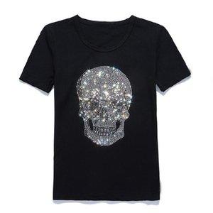 Cotton Japan T-shirt O-neck Diamond Black Short-sleeve Shining Mastermind Skull Tee Rhinestone Kavxs