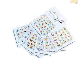 Ultrathin Yapıştırıcı Nail Art Sticker 30 adet / grup Kelebek 3D Nail Art Etiketler Su Transferi DIY Çıkartmaları # # FAM315-344