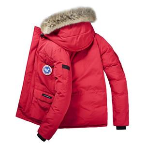 Канада зимние мужчины новое пальто Parka плюс бархат утолщение куртки даже шляпа шить ветровка мужские досуг теплые пальто плюс размер l-8xl