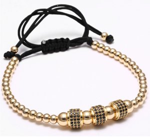 Men Bracelets Fashion Luxury Gold Plated 3 Round Beads Macrame high quality Bracelet Micro inlay zircon Mens & Womens New Style Accessories