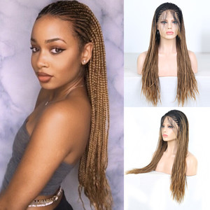 Charisma Ombre Brown Wigs Box Braids Braided Wig Heat Black Roots Synthetic Lace Front Wig for Black Women with Baby Hair