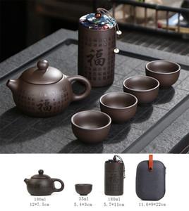 Taşınabilir seyahat çay mor kumun Kung fu seyahat çaydanlığın dört bardak bir tencere set