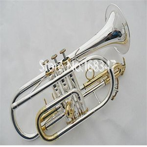 New Brand Cornet B Flat Sliver Plated Brass Keys Musical instrument With Case Accessories Free Shipping