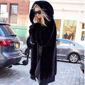 Faux Fur Coat Mujeres 2019 informal con capucha peluda caliente grueso largo de piel falsa capa de la chaqueta de invierno Negro Mujeres Tamaño más casaco feminino