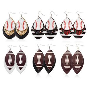 Futbol Spor Pu Deri Küpe Rugby Sequins Yaprak Amerikan Bayrağı Küpe Kadınlar Lady Moda Aksesuar Takı 7styles RRA2092