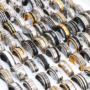 Anillos de bodas regalo para hombre Spinner inoxidable joyería de acero partido del anillo para las mujeres estilo de la mezcla Tamaño 17mm a 22mm