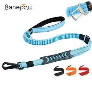 Benepaw Multifuncional Heavy Duty Bungee Dog Leash Reflective Absorvendo Formação Leash 2 Tráfego Handle Car Dog Cinto de Segurança