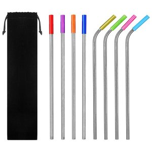 Reusable Straws 304 Stainless Steel Metal Straw Metal Smoothies Glass Box Drinking Straw Set with Brush Bag Wholesale