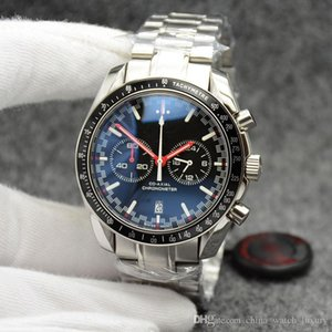 6 color cronógrafo velocidad cuarzo de los hombres que compite con 300 Maestro Co-Axial Moonwatch Profesional Spectre Fecha Hombres Negro Naranja para hombre Relojes de pulsera