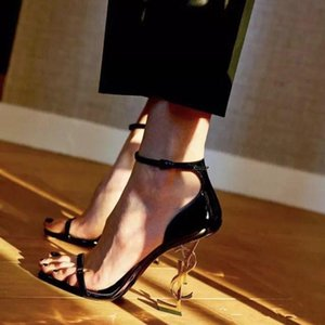 With box -Fashion Wedding Shoes Bridal Letter Heel Women Sandals Women Pumps 2019 New Gold Ladies Party Shoes In Stock