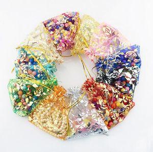 Colorido Rosa de Oro Transparente Paquetes Con Cordón Bolsa de Organza Bolsa de Regalo Para La Joyería Del Banquete de Boda Perlas de Embalaje GB397