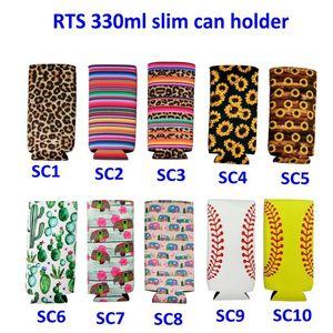 15 colores Slim Can Sleeve Sunflower Neoprene Insulated Cooler Base para lata de béisbol Fundas para botellas de agua Funda para botellas Bolsa Leopard Flower