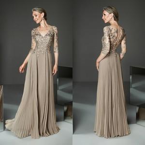 2020 Elegant Mother Of The Bride Dresses Half Long Sleeves Appliqued V Neck A Line Wedding Guest Dress Custom Plus Size Mother Gowns
