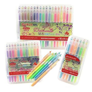 Neon Su Boyama Kitabı Flaş Tebeşir Jel Kalemler için Elmas Jel Kalemler Flaş Floresan jel kalem Ince Çizim Kalemler 36 Renkler Set