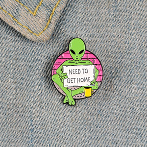 Alien green enamel pin brooches for women coffee cup badge Hand Holding Paper need to get home lapel pin clothes backpack jewelry gifts