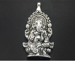 Hot 20pcs Vintage Silver Zinc Alloy Religion Thailand Ganesha Buddha elephant Charms Necklace Pendant For Jewelry Making 62x32mm