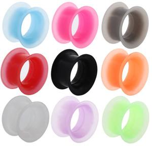 Mujeres Hombres Joyería de Silicona Flexible Fino Doble Flared Ear Plugs Calibradores Pendientes Expansión Piercing Túnel de Carne Joyería Corporal