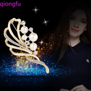 Qiongfu Glass Crystal Rhinestones Flower Brooch Wedding Bridal Bouquet Accessories Jewelry Large Brooch Pin for Women