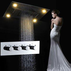 Venta al por mayor Modern LED Set de ducha de techo Rainfall Waterfall Shower Head Hot Cold High Flow Bath Mixer Accesorios de baño T 161222 # 161225