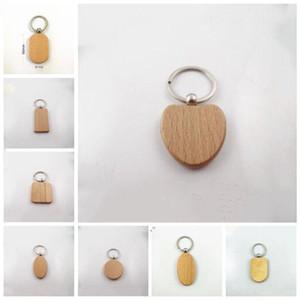 Gravado Keychain Personaliza Chaveiros de madeira em branco bonito Carving Forma DIY Retângulo Quadrados Coração gratuito LXL934-1 transporte